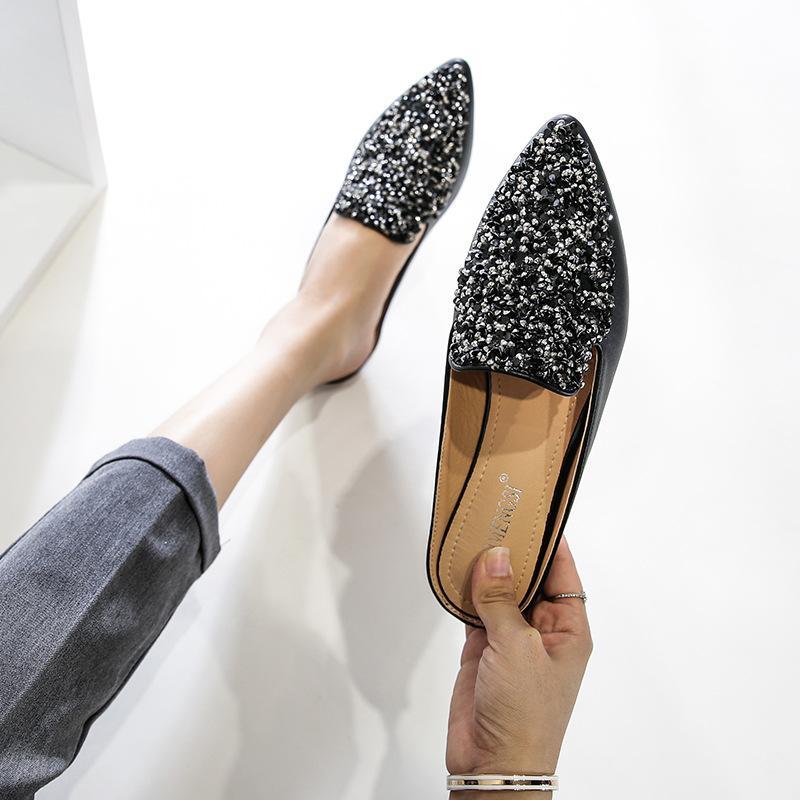 2020 New Baotou Chaussons Femme Mode d'été en cuir strass Paillettes Muller Chaussures Pointu Chaussures plates L