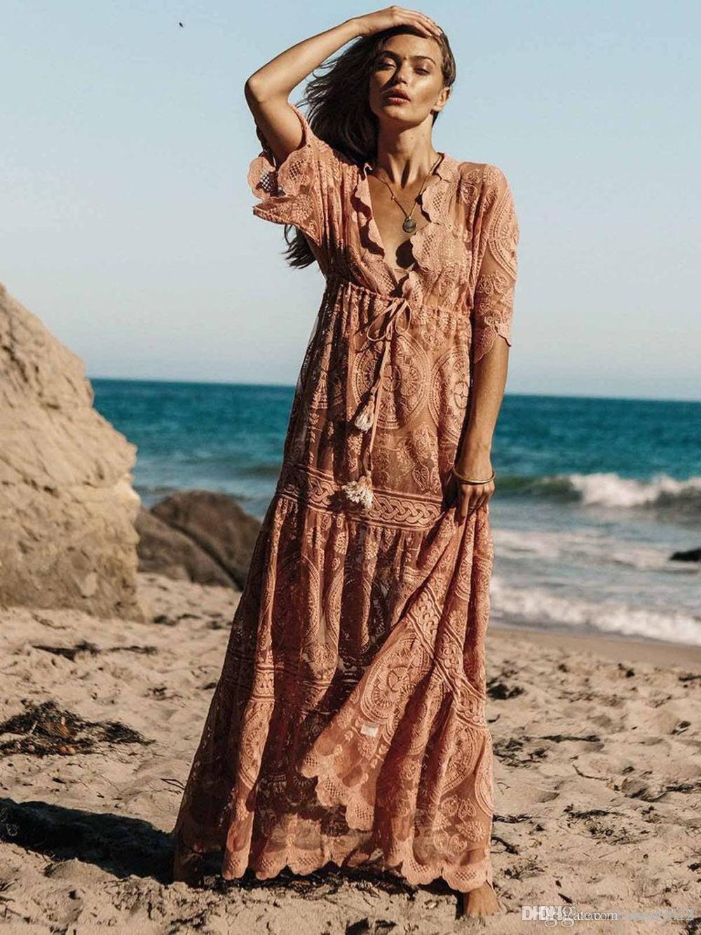 2019 été Décolleté en V dentelle florale robe manches mi-longues Tunique taille Holiday Beach Dentelle Mode Femmes Vestidos Casual Robe longue Maxi Hippie