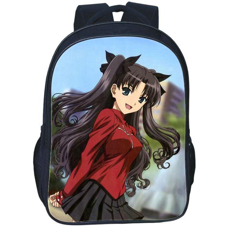 Sac à dos Tohsaka Rin Sac à dos Fate Stay Night Day Sac cartable en forme de carte postale Chaude sac à dos imprimé avec sac à dos Sac de sport en plein air