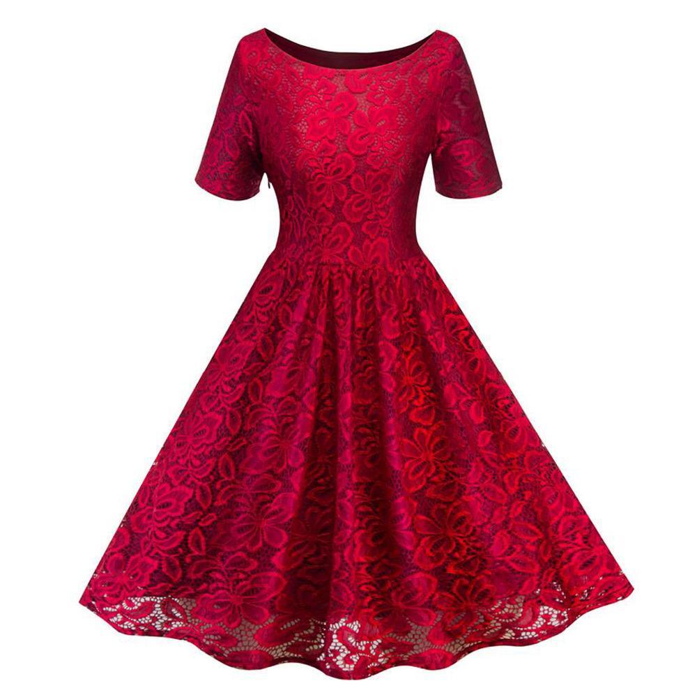 Vestido partido del cordón floral retro de las mujeres elegantes 2019 de la manga corta femenina de un azul Negro Línea dulce de la Red Wine 50s vestidos de la vendimia
