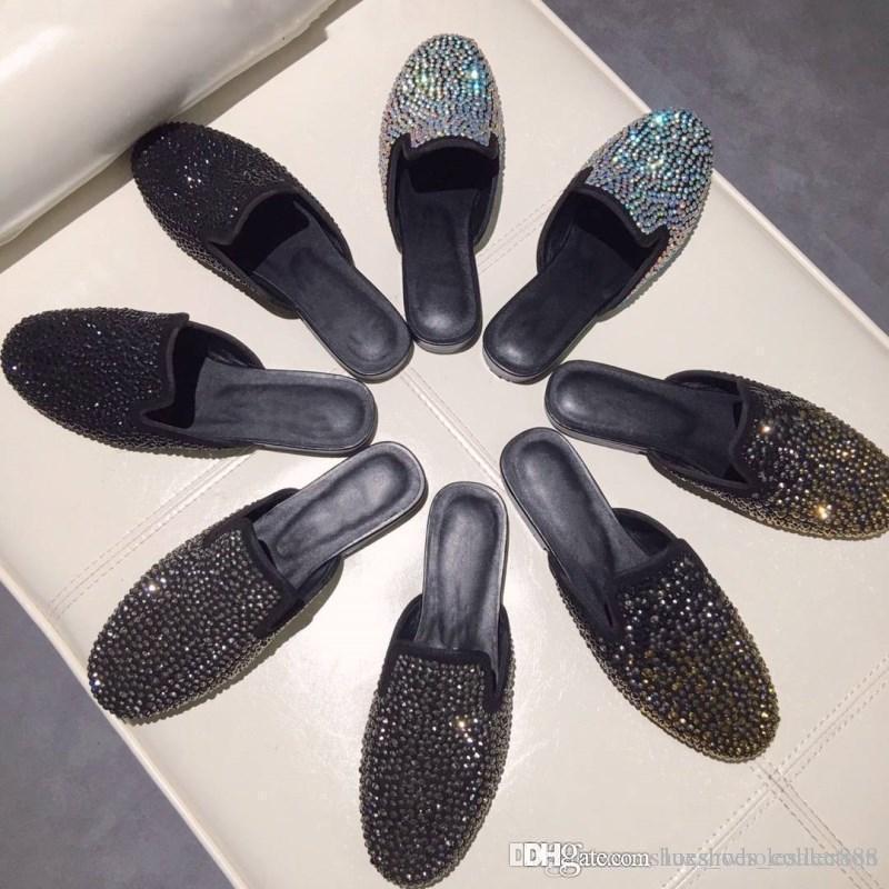 zapatillas de perforación de agua de manantial importados de cuero decoradas con decoración agua de perforación de suela de las zapatillas de las mujeres delicado encanto originales