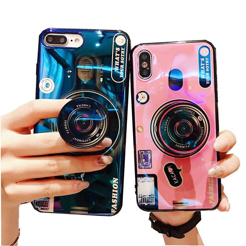 للحصول على اي 11 12 الموالية XR XS ماكس 8 7 6 بالإضافة إلى هاتف حالة مسنده كاميرا خمر غطاء حامل الكرتون الليزر مع قوس الهواء الهاتف المحمول