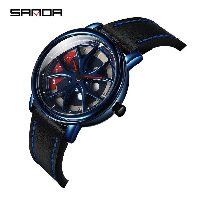 Sanda cross border популярная мода персонализированные мужские часы творческий студенческий спортивный пояс часы