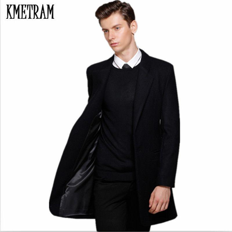 KMETRAM 2017 New Outono e Inverno de lã Brasão Homens lazer longo Secções 60% casacos de lã mens Casual casacos de moda HH463