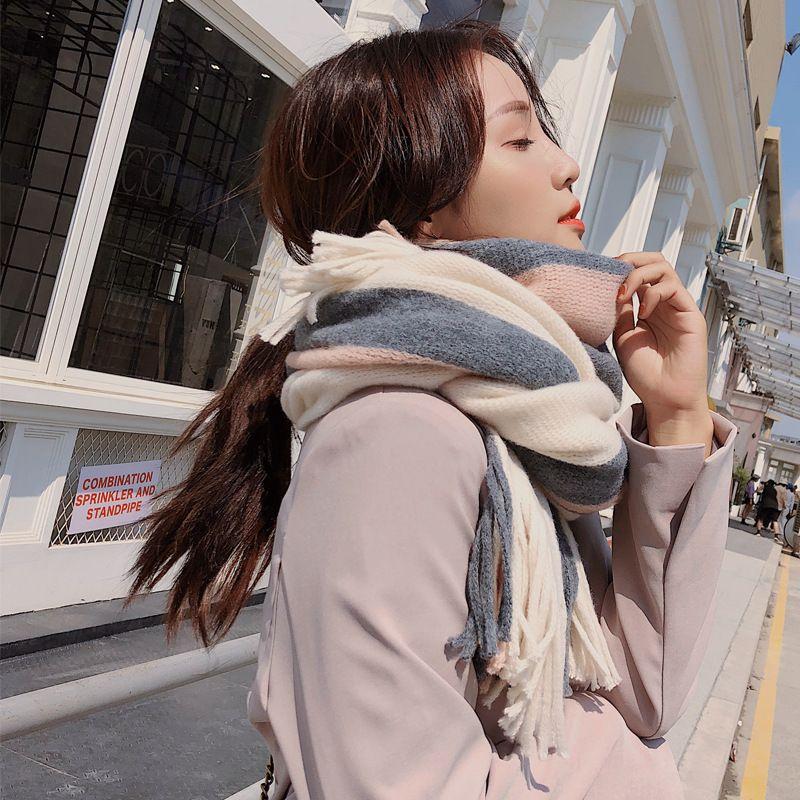 جودة عالية وشاح سميكة شال مزدوج الاستخدام طويل مطابقة اللون محبوك الصوف الشتاء وشاح الإناث مصمم وشاح للنساء شحن مجاني