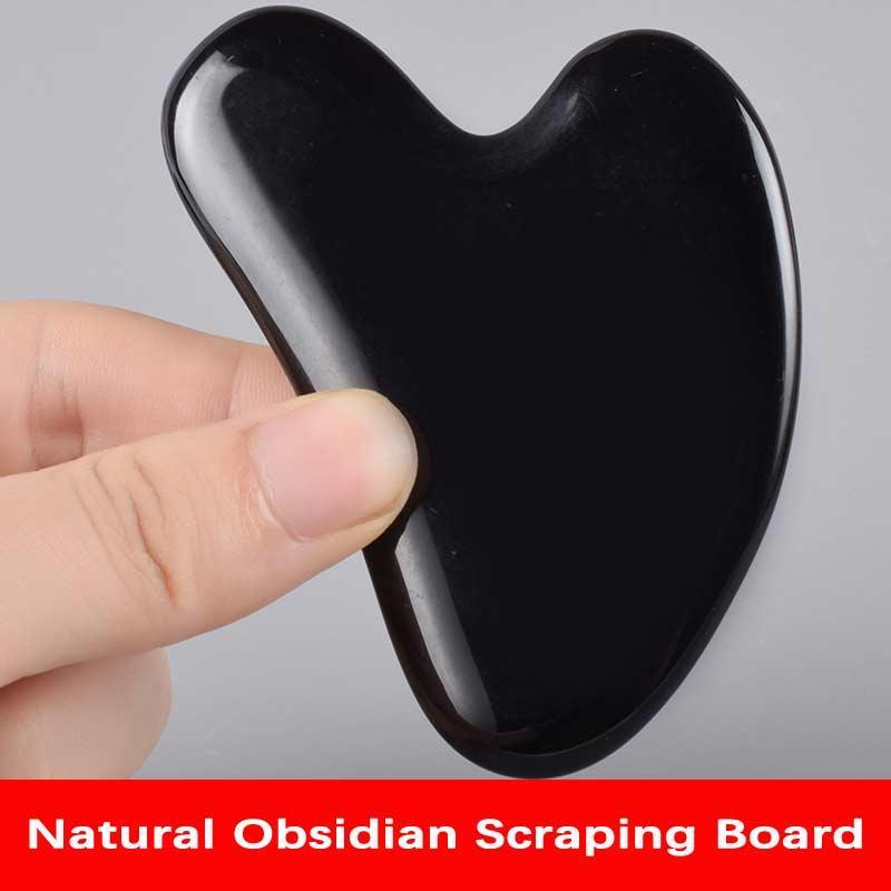 Spedizione gratuita Natural Obsidian Gua Sha Scheda Black Jade Pietra Pietra Corpo Facciale Eye Scraping Piastra Agopuntura Massaggio Rilassamento Assistenza sanitaria