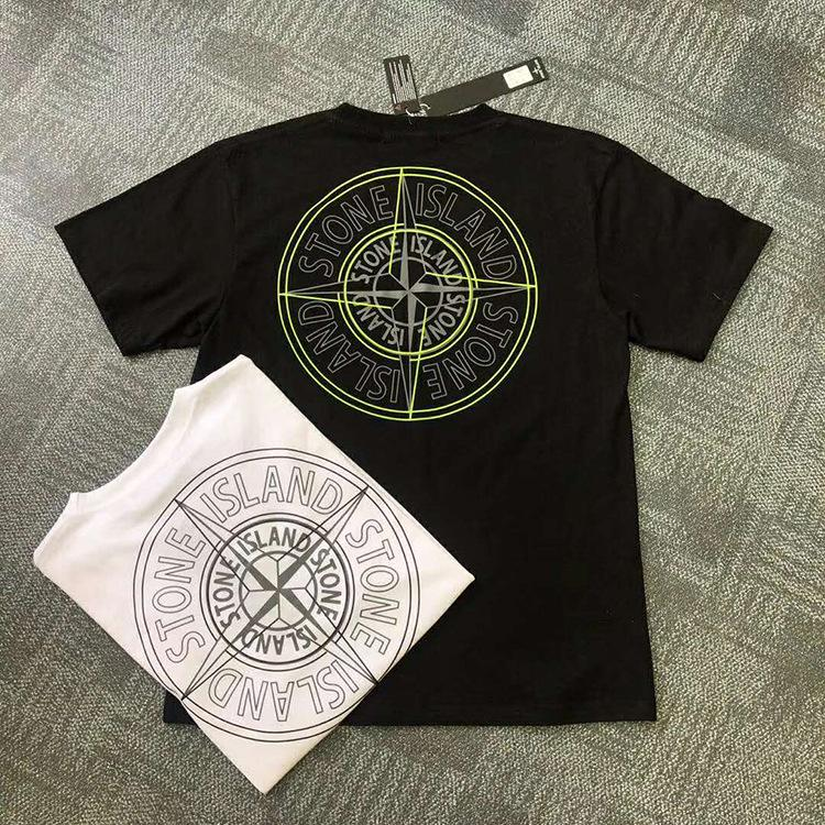 2020 ISLAND nueva primavera y el verano clásica camiseta de los hombres del algodón brújula impresos informal de manga corta camisa tocando fondo