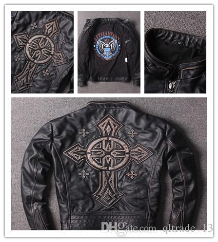 aço afiação preta do vintage carimbado cross homens aflição jaquetas de couro genuíno gola 100% jaqueta de motocicleta