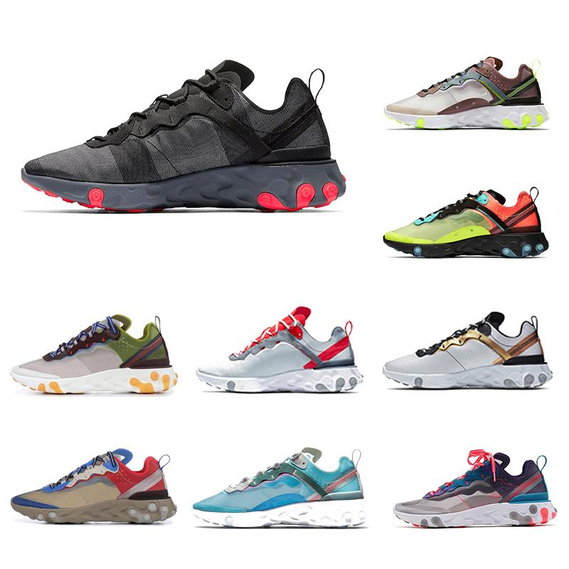 Blue Chill React Element 87 Volt 55 para hombre Zapatillas de running para mujeres hombres Juego Royal Taped Seams Sail outdoor Sports Sneakers Nueva llegada