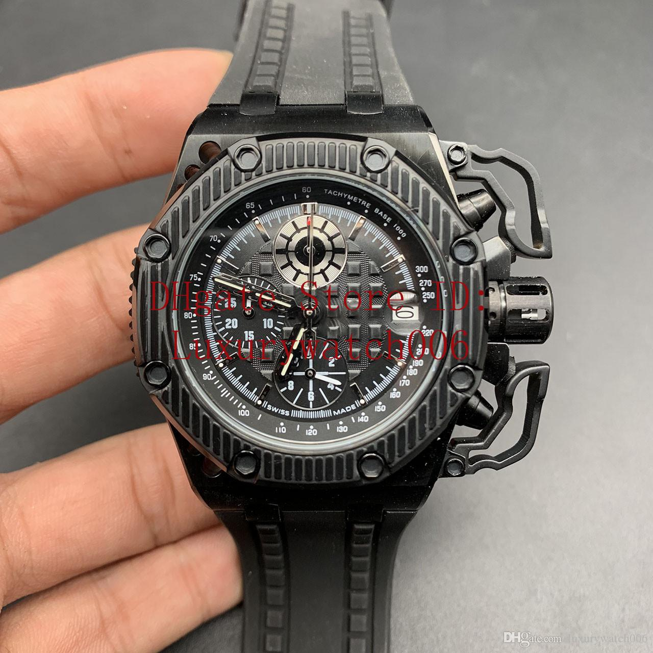 2020 Volle schwarze Uhren Famous Moderne Herrenmode-Uhr-beiläufige Mens VK-Quarz-Chronograph-Sport-Uhr 42mm