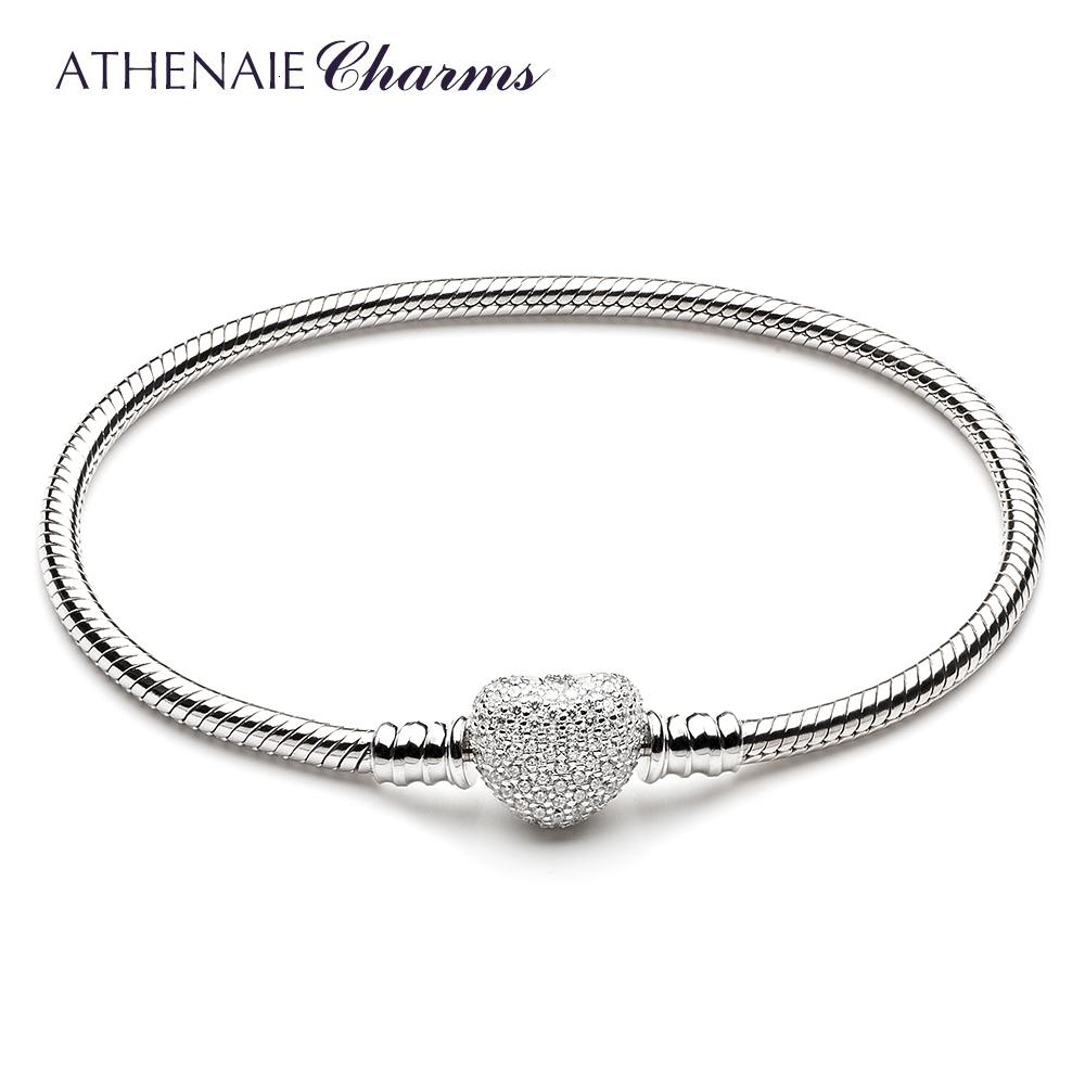ATHENAIE 925 Sterling Silver Snake Chain With Pave Clear CZ Heart Clasp Bracelet Fit All European Charm Beads Valentine' Jewelry SH190925