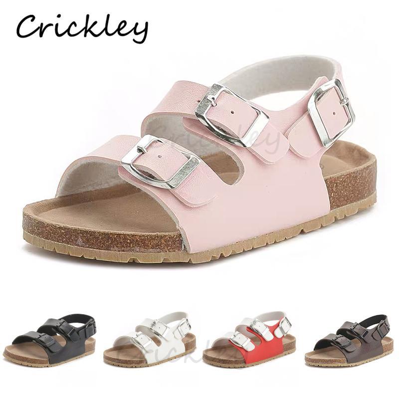 Пробковые детские твердые сандалии Гладиат удобная мягкая подошва пряжка ремень сандалии для маленьких девочек мальчиков летняя обувь 3T-12T T200408