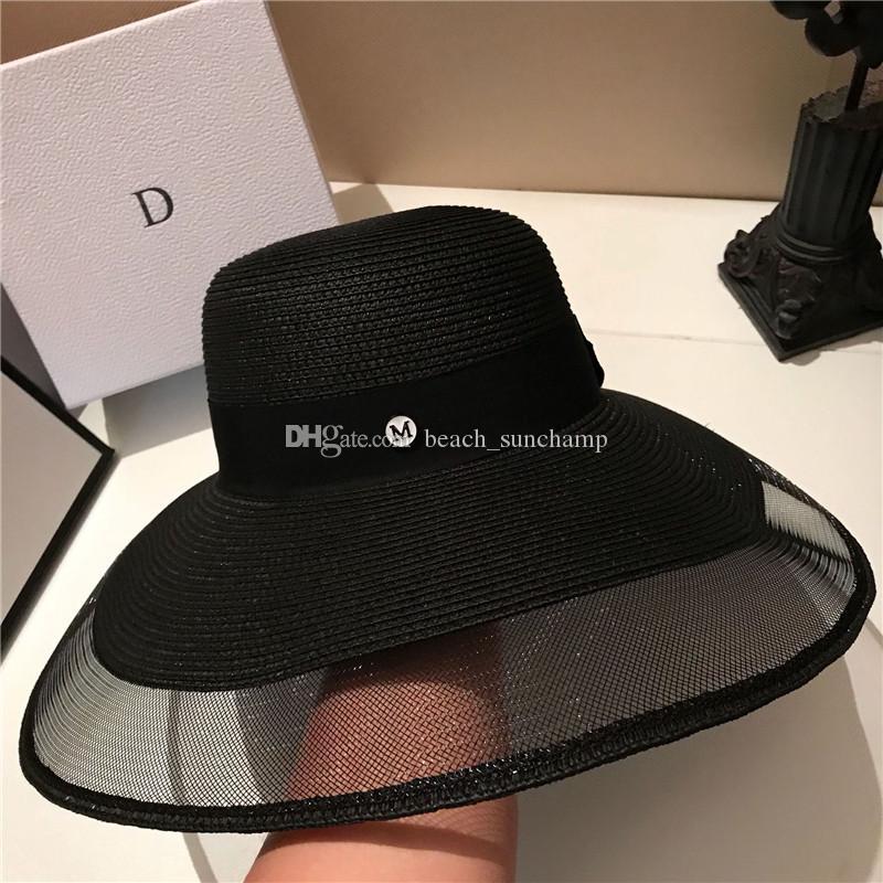 Fashion Holiday Beach Sombreros de alta calidad Sombrero sol para mujer sombreros de ala ancha marea sombreros negros envío gratis