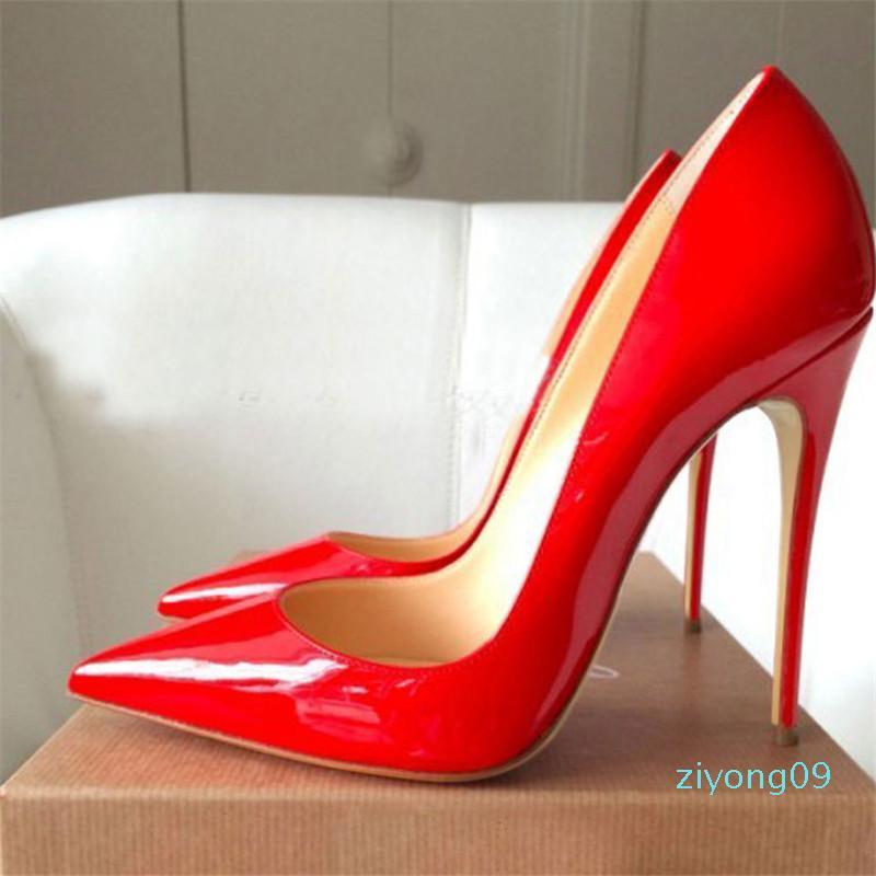 Бесплатная доставка Так Kate Стили 8см 10см 12см Высокие каблуки обуви красный Bottom Nude цвет натуральная кожа точка Toe насосы Резина AQ09