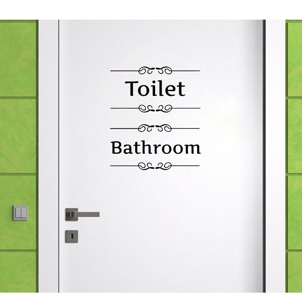 Урожай стикер стены ванной комнаты декор Туалет двери винила Transfer Vintage украшения стены искусства декора дома стикера
