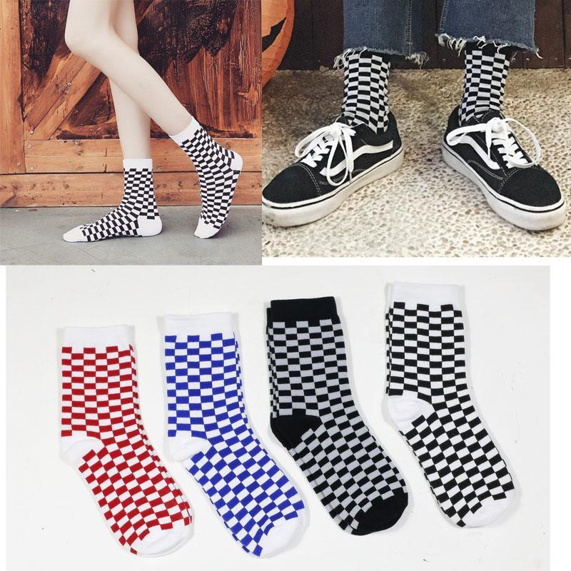Corée géniale hop Harajuku femmes tendance chaussettes chaussettes géométriques à carreaux damier hommes hanche coton unisexe chaussettes nouveauté streetwear