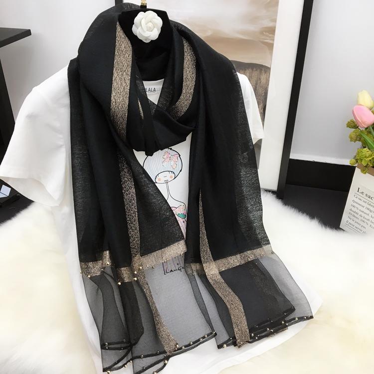 유행 벨벳 스카프 여성의 레저 한국어 버전은 순수한 긴 숄 못을 박았다 구슬 스카프 여성의 얇은 스카프