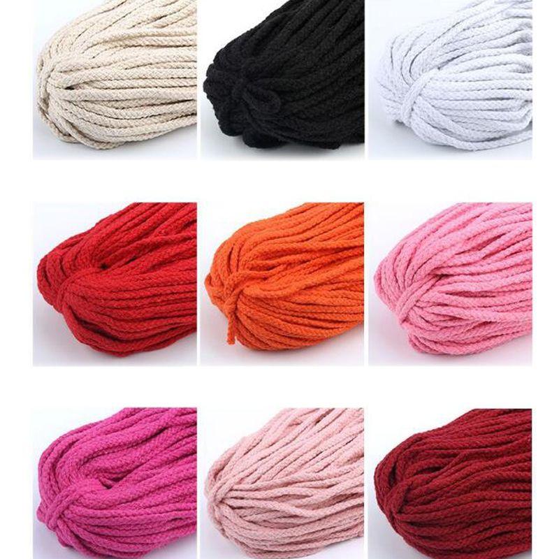 Cordão de algodão colorido natural bege torcida do cabo Corda Craft Macrame Cadeia DIY Início decorativa trançado material 5 milímetros * 100yard