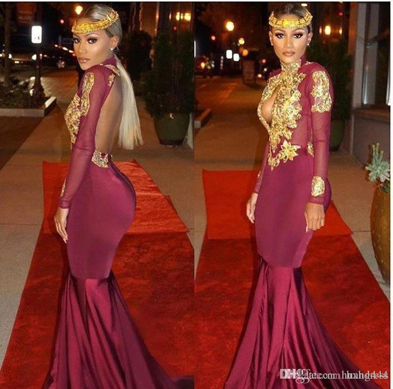 2019 New African Burgundy Long Sleeve Gold Lace Prom Dresses Mermaid Satin Applique Beaded High Neck Backless Court Train Prom Party Gowns