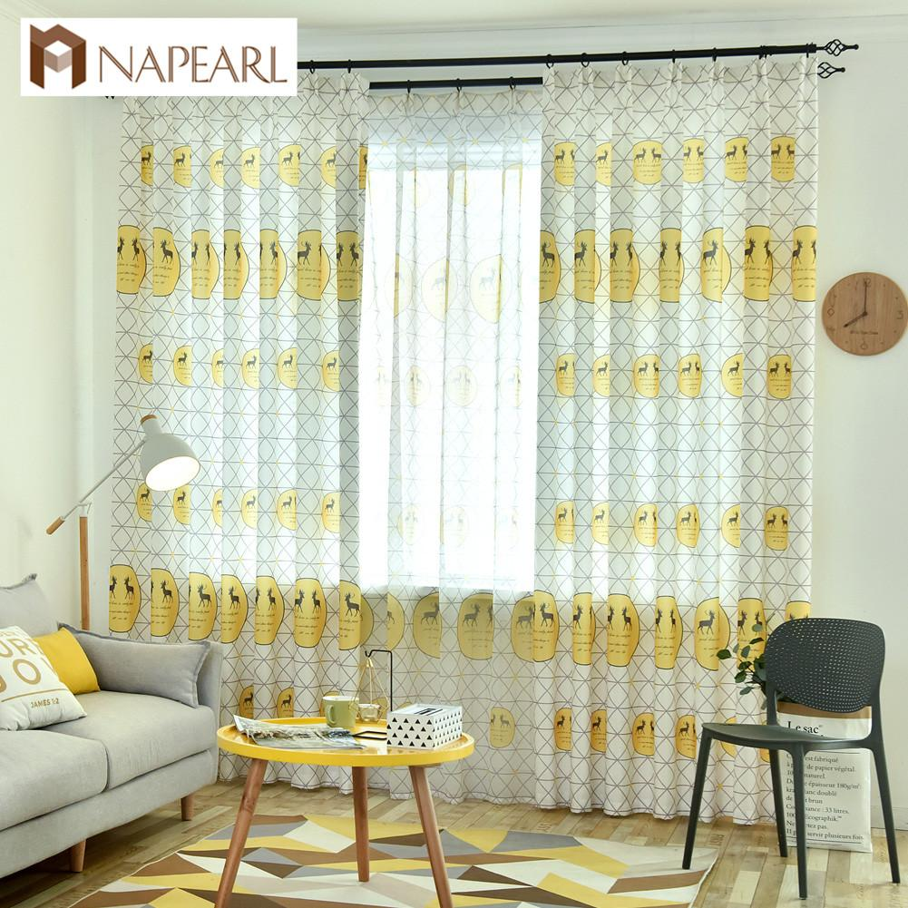 2019 NAPEARL Cartoon Design Semi Shade Curtain Bedroom Windows Home Decor  Modern Fashion Style Tulle Draperies Deer Plaid From Hobarte, $35.71 | ...
