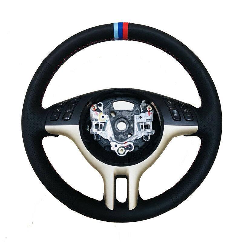 التوجيه جلدية DIY جانبية مثقوبة عجلة M-لون خياطة غطاء للحصول على BMW E39 E46