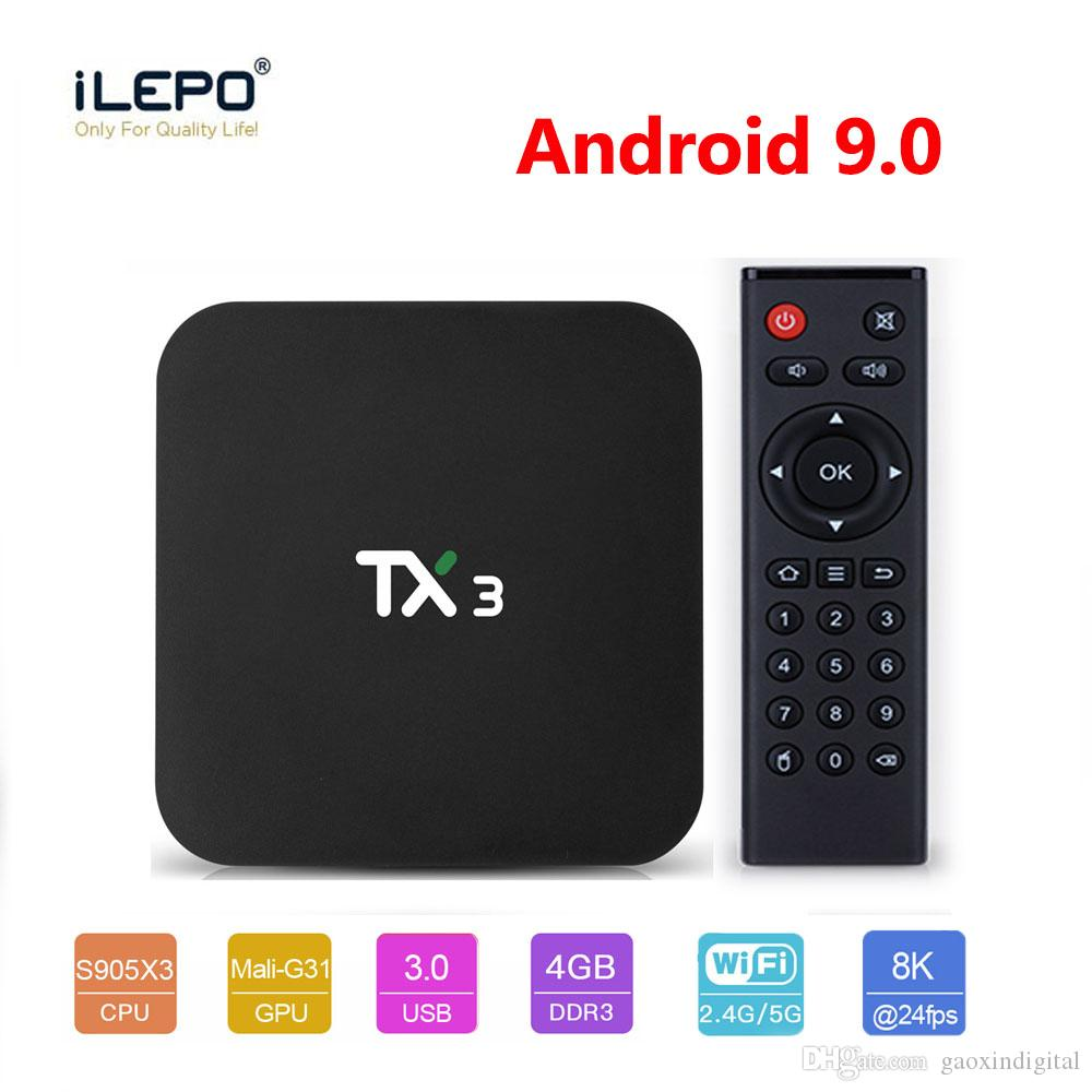 4 Go 64 Go TX3 Android 9.0 TV BOX Amlogic S905X3 32Go Quad Core 2,4 GHz / 5 GHz Wifi BT H.265 8K Media Player