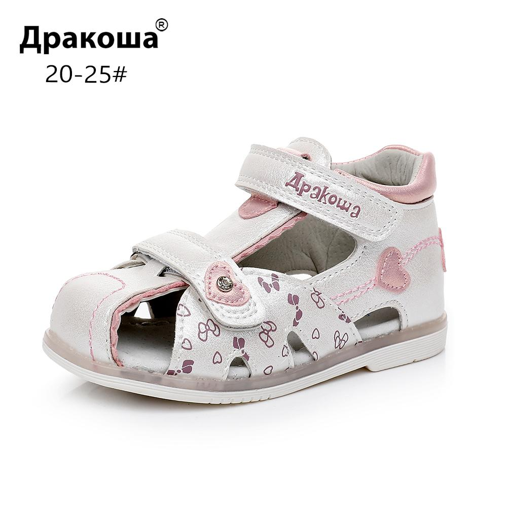 Apakowa Toddler Baby Girls Closed Toe Sandals Summer Kids Butterfly Sandals Beach Party Dress Shoes With Arch Support White Pink Y190523
