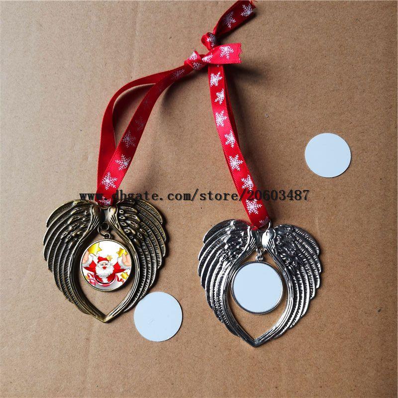 التسامي زخرفة عيد الميلاد زينة أجنحة الملاك شكل فارغ حار نقل الطباعة الطباعة على الوجهين مستهلكات سعر المصنع