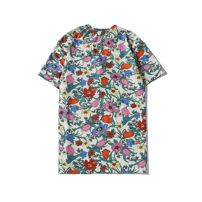 Nueva llegada camiseta para hombre de flores del verano ocasional de la manera de los nuevos hombres del patrón floral ropa corta de la manga Top Camisetas coloridas tamaño S-2XL