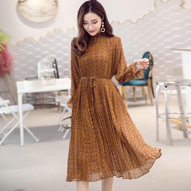 Donne Chiffon abito 2020 autunno inverno femminile annata elegante manica lunga stampata abito plissettato ufficio signora casuale abiti sciolti T200526