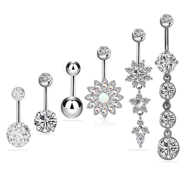 Jóias Belly New 6Colors Body Piercing Botão Navel Rings Dangle Body Piercing Jewelry Acessórios Charming Sexy Anéis Bar