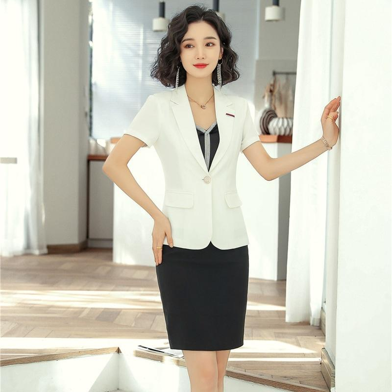 New 2020 Summer Female Skirt Suits for Women Business Suits Ladies White Blazer and Jacket Sets Work Wear Styles