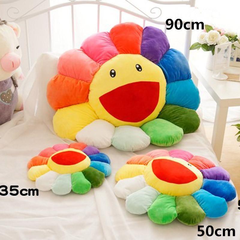 2020 Netter Murakami Takashi Sunflower-Plüsch-Kissen-Spielzeug-weiche Kissen-Sofa Puppe 35CM 50CM Größe