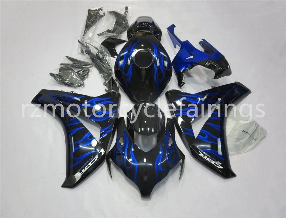 Qualité supérieure (moulage par injection) Nouvelle ABS Pierre Moto Carénage Kit Fit Pour CBR1000RR 2008 2009 2010 2011 sur commande gratuite Black Blue Flame