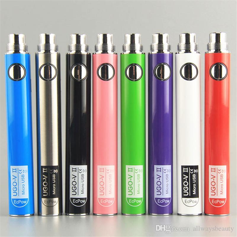 100% Original UGO V II 650 900 mAh EVOD eGo T Batteries 510 Thread Vapes Pen Battery Micro USB Passthrough Vape & Charger e cigs vaporizers