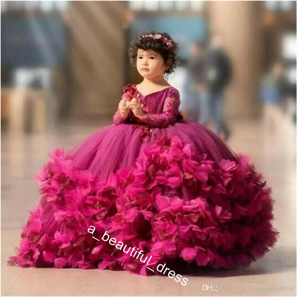 Puffy Flower Girls Dresses 3D Flower V Neck Long Sleeve Kids Teens Pageant Gowns Birthday Party Dress For Wedding Cooktail Gown FG1293