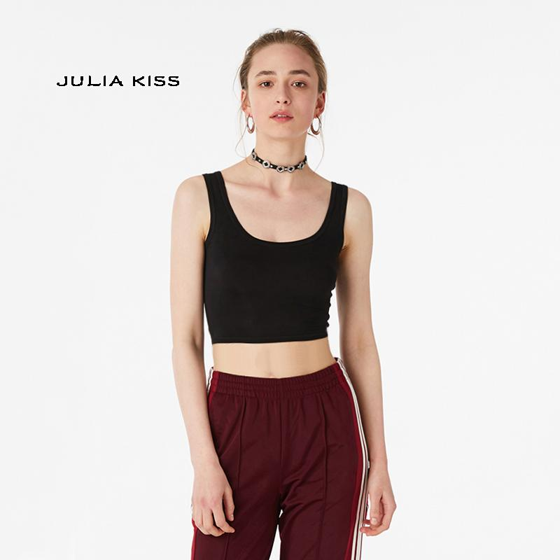 Women Spoon Neck Cropped Tank Top Y19042801