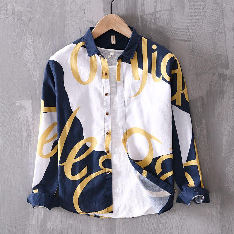 Baumwollleinen Langarm-Männer nehmen passende stilvolle gedrucktes Kleid Shirt Männer Social Business Shirts Male Camisa Chemise TS-553