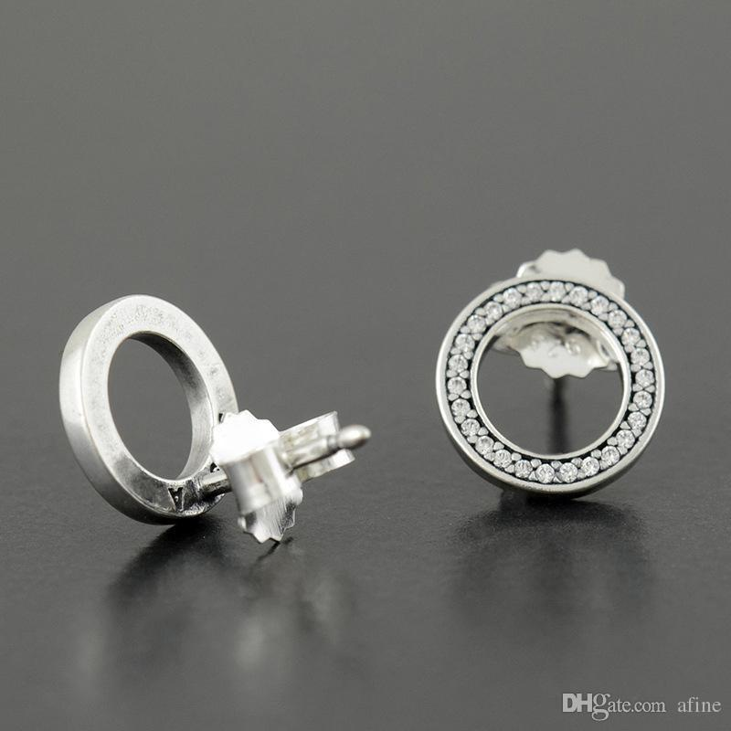 YENI Otantik Orijinal Kutusu ile 925 Ayar Gümüş Daire Saplama Küpe Pandora CZ Elmas Kadınlar için Moda Küpe set
