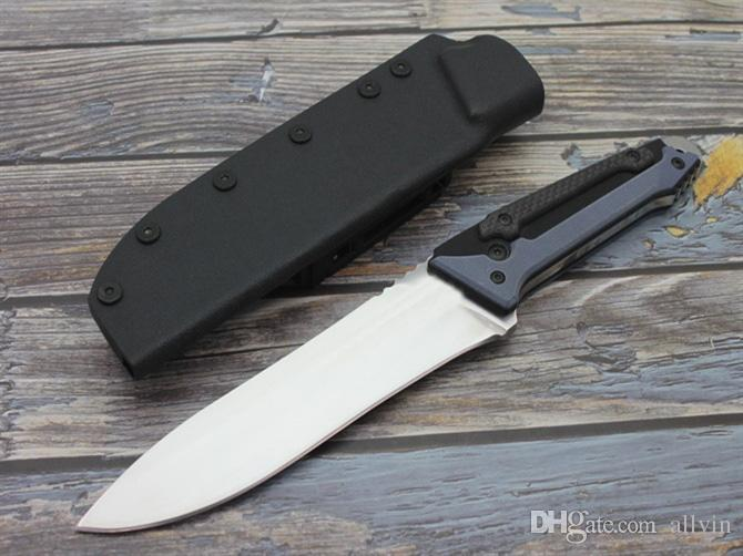 High Quality Survival Straight Knife D2 Satin Blade G10 + Carbon Fiber Handle Fixed Blade Knives With ABS K Sheath