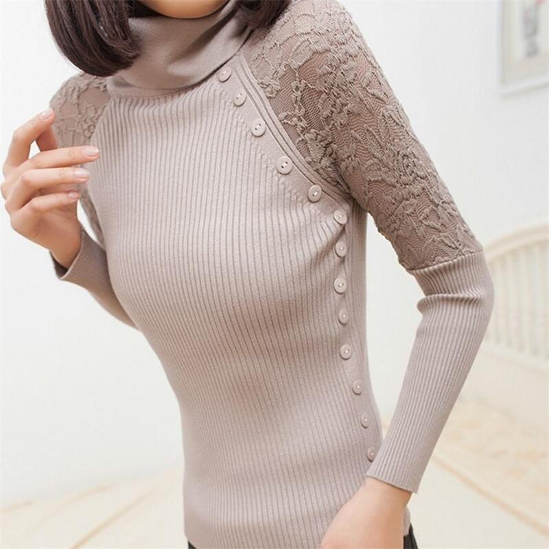 Otoño Invierno Mujer Suéter Tortuga Cuello Botón de Encaje de Punto Pullover Mujer Casual Prendas de punto de manga larga Sueter Pull Femme 8886