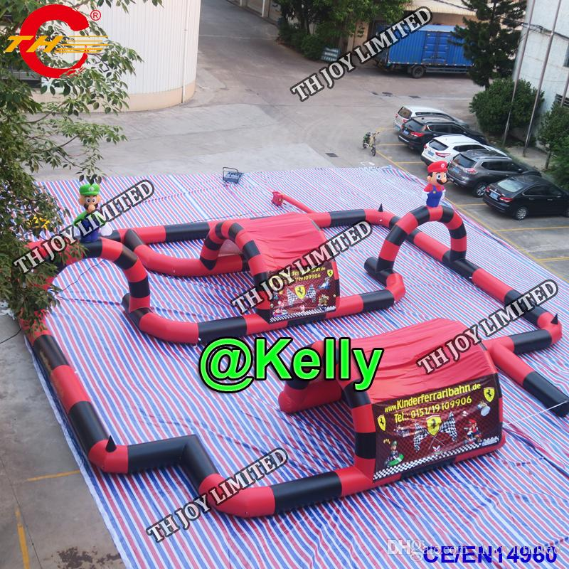 أطفال لعبة في الهواء الطلق سيارات سباق المسار العملاق نفخ الذهاب كارت سباق المسار مصنع مخصص جعل دواسة كبيرة سباق السيارات المسار