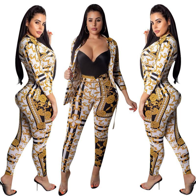 2020 последний дизайн повседневная спортивный костюм женщины из двух частей набор осенние наряды печатных толстовка куртка и брюки набор женская мода пот костюмы