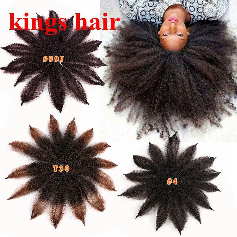 Marley treccia di capelli neri da 8 pollici Borgogna Marrone Blu Afro crespo Twist sintetico riccio crespo dei capelli di estensioni 14Roots / pack