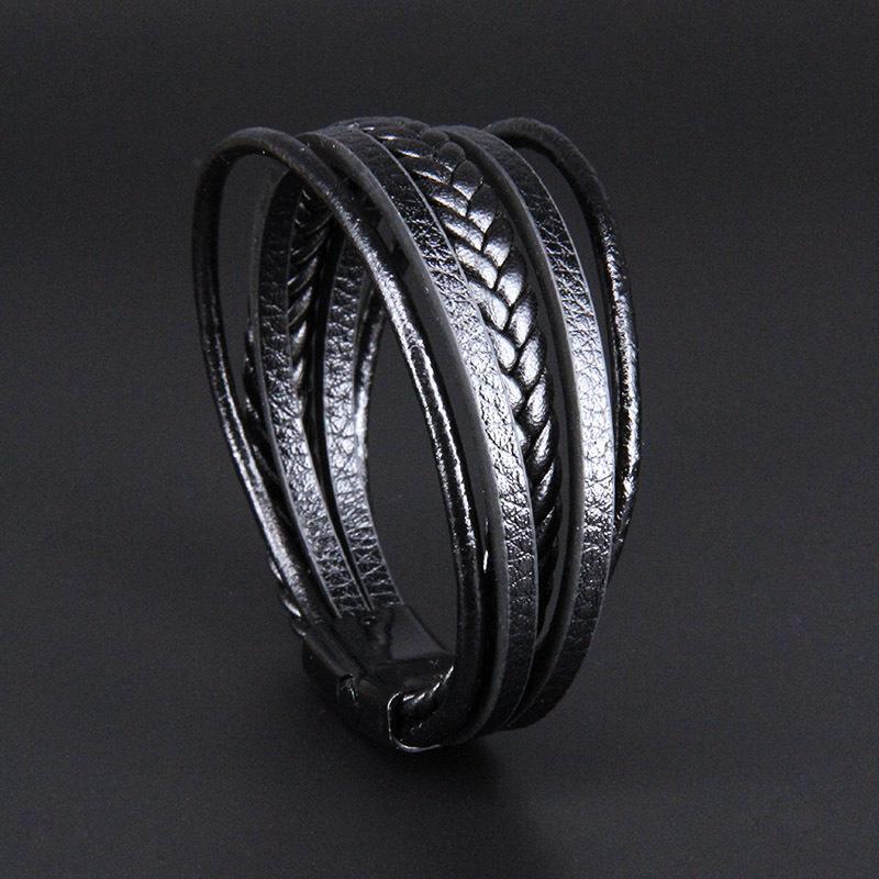 Gioielli in pelle punk della treccia per gli uomini neri e chiusura in argento Wristband Maschio dell'annata dei monili di moda migliori regali