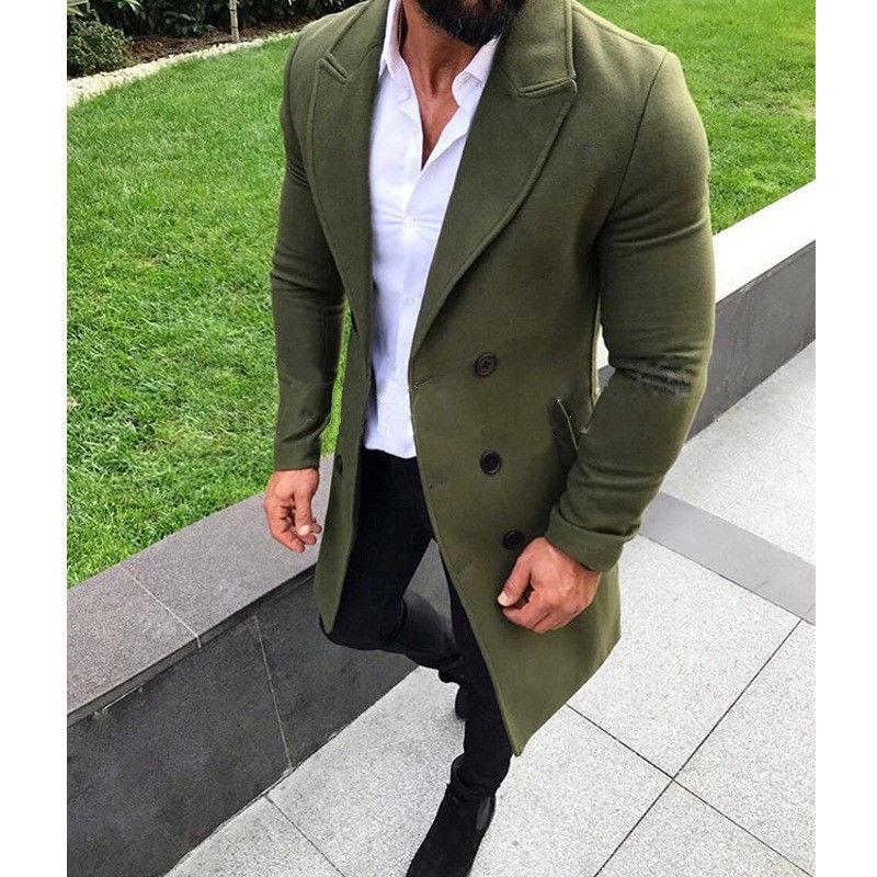 New Fashion Men Winter Warm Blends Coat Lapel Outwear Overcoat Long Jacket Peacoat Mens Long Coats