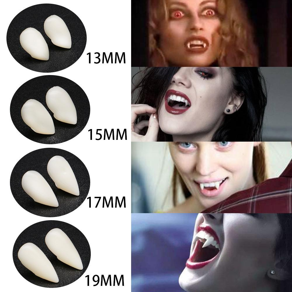 4 Sizes Vampire White Grillz Zombies Teeth Fang Grills Cosplay Tooth Cap Dental Mouth Resin Fake Teeth Braces Valentine Day Jewelry Gifts