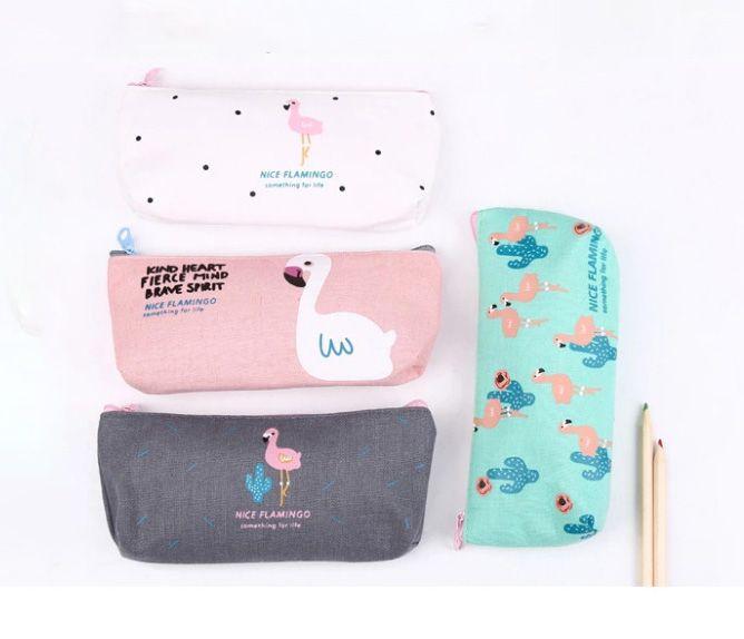 2018 Yeni Tasarımcı Sevimli Yaratıcı Flamingo Tuval Kalem Kutusu Depolama Organizer Kalem Çantaları Kılıfı Okul ofis malzemeleri noel hediyesi