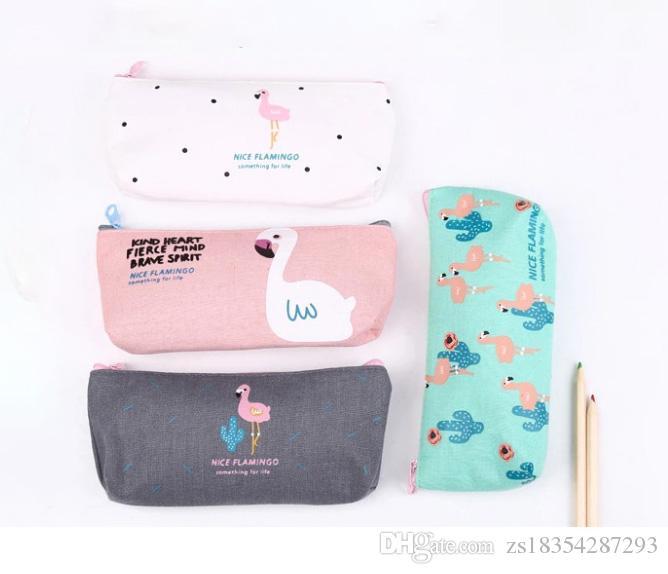 2018 جديد مصمم لطيف الإبداعية فلامنغو قماش مقلمة التخزين المنظم القلم أكياس الحقيبة مدرسة اللوازم المكتبية هدية عيد