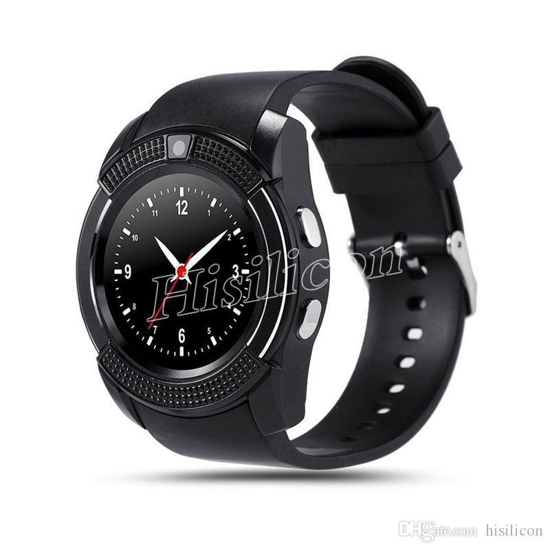 30pcs Colorful V8 Smart Watch Wristband With 0.3M Camera SIM IPS Watch Band With 0.3M Camera For Android Iphone With Box
